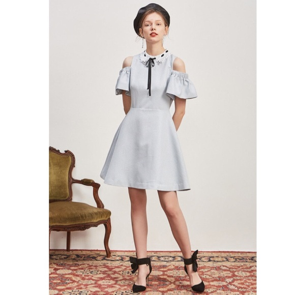 0336999612078 Ted Baker Araye Skater Embellished Collar Dress